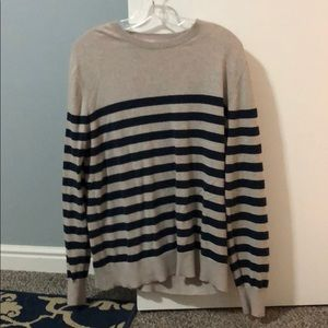 Navy blue and tan striped sweater